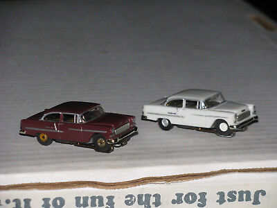 1955 Chevy Slot Cars - HO scale with Tjet frames - 2 Cars - White and Maroon