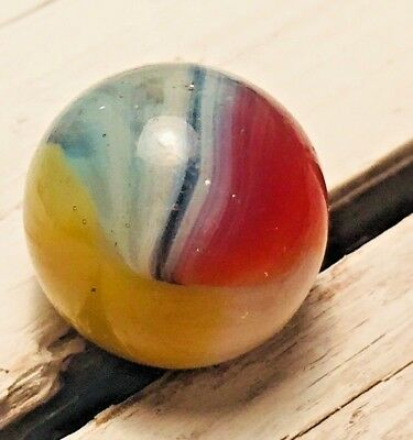 """Vintage AKRO AGATE GLASS MARBLE .62"""" SPARKLER YELLOW, PINK ,BLUE #51"""