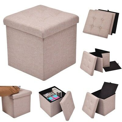 Home Foldable Cube Storage Ottoman Box Case Bench Seat Stool Footrest  Footstool