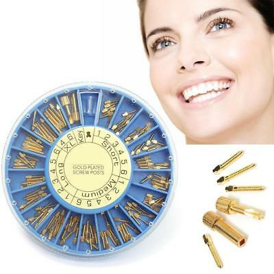 120 pcs Dental Conical Screw Post Authentic NORDIN Kit Gold Plated Tapered