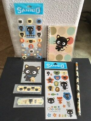 Vintage 7pcs. Lot Sanrio CHOCOCAT Stickers Notebook Pencil NEW Hello Kitty