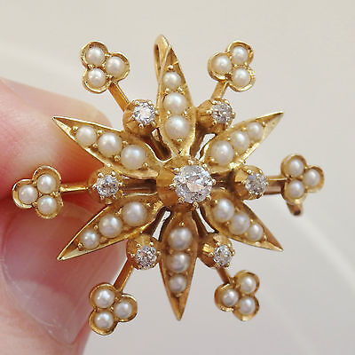 Antique Victorian 15ct Gold Diamond (0.37cts) & Pearl set Pendant Brooch c1885