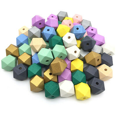 50Pcs Geometric Hexagon Painted Natural Wood Loose Beads DIY Baby Jewelry Making