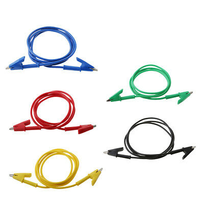 5x Double-ended Test Alligator Crocodile Clip Jumper Cable Probe Lead Wires