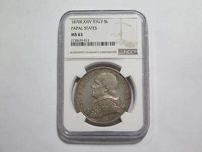 Italy Papal States 1870 R 5 Lire Ngc Ms63 Toned Silver World Coin Collection Lot