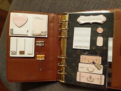 louis vuitton mm agenda sized set of 3tab dividers plus sticky notes and 2 clips