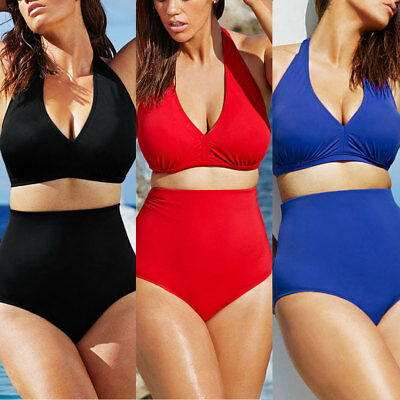 Women Push up Padded Bra Bandeau High Waist Bikini Swimwear Swimsuit Plus Size