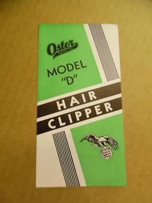 c.1933 Oster Model D Hair Clipper Brochure Barbershop Barber Racine Vintage VG+