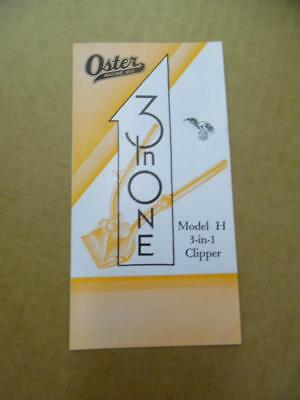 1934 Oster Model H 3-in-1 Hair Clipper Brochure Barbershop Barber Racine Vintage