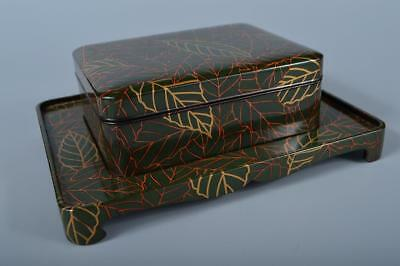 J9831: Japanese Old Wood Lacquer ware CONTAINER for article Accessories Case Box