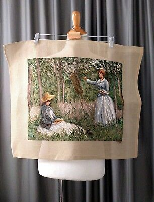 Vintage Needlepoint Tapestry Art Scene Women Jane Austen Regency Textile