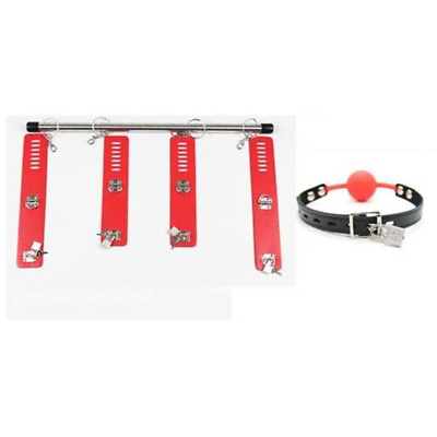 Spreader Bar With Ankle & Wrist Cuffs Leather Pad Locks Mouth Gag Red Restraints