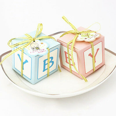 12x Baby Shower Favor Gift Box Candy Sweets Boxes Birthday Party Decor Pink Blue