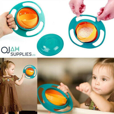 Baby Kid Children Gyro Food Bowl Dishes 360 Rotate Spill-Proof Bowl Dishes YU