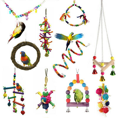 Pet Swing Bird Toy Parrot Rope Harness Cage Hang Toys For Parakeet Cockatiel