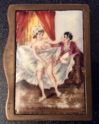 Antique French Gilt Metal Vesta Case With Porcelain Risqué Picture On The Front