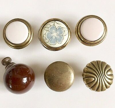 6 Vintage Antique Brass White Dresser Cabinet Round Drawer Pulls Mixed Lot