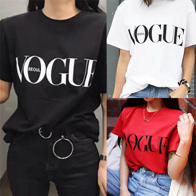 Fashion Girl Short Sleeve Tops Clothes For Women Vogue Letter Printed T-shirt FT