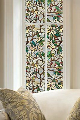 Privacy Stained Glass Peel Stick Windows Doors Flowers Cling Texture Film Window