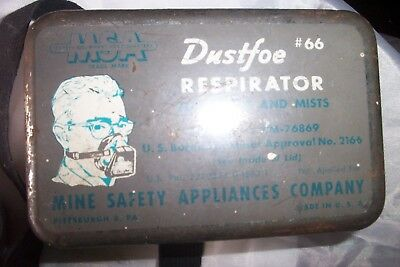 Vintage MSA Dustfoe #66 Respirator w/ Tin Instructions Extra Filters Mine Safety