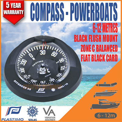 PLASTIMO OFFSHORE 95 COMPASS FLUSH BLACK FLAT BLACK CARD for 6m - 12m Powerboats