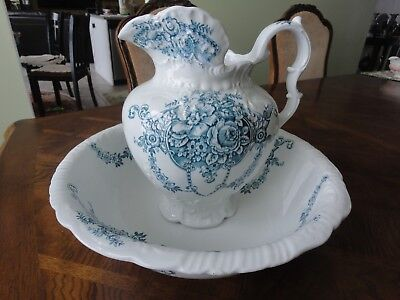 Antique Blue White Pitcher & Wash Basin - Duchess by J H Weatherby & Sons No Tax
