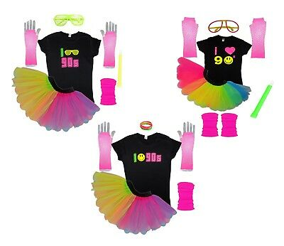 I Love 90's TShirt Set 90s Fancy Dress Neon Party Tutu Themed Parties Hen Night