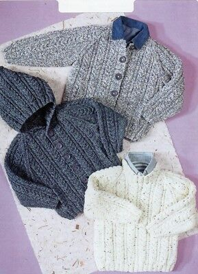 Baby Toddler ARAN Knitting Pattern Hooded jacket Cardigan 10 ply