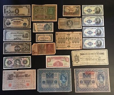 Currency Lot  Philippine Victory Peso China Japan Austria WWI WWII 21 Pieces