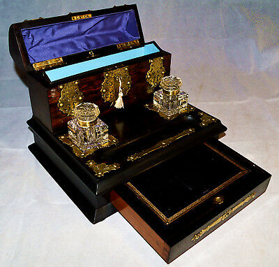 A Victorian Coromandel & Brass Bound Desk Stand with Writing Slope & Inkwells