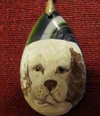 Clumber Spaniel hand painted on teardrop Onyx Agate pendant/bead/necklace