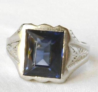 Mens Vintage 14k White Gold Art Deco 1920s Sapphire Ring~Hand Carved Mount