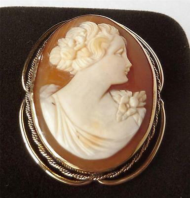Art Deco 10k Yellow Gold Shell Cameo Brooch Pin Young Lady~Pretty Frame~Detailed