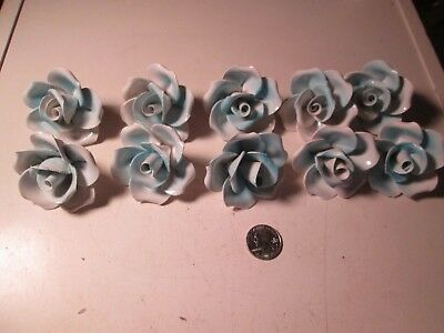 TCC  Lot of 10 Blue Capodimonte Roses Porcelain Lamp Chandelier Flowers