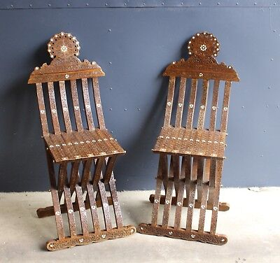 Wonderfull Antique Pair of Fine Carved and Inlay Folding Chairs, 19th Century