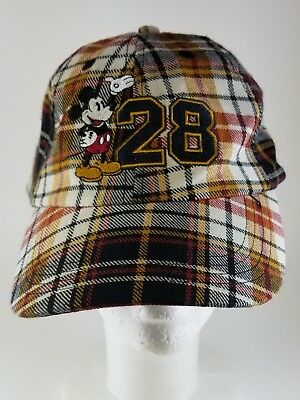 Disney Parks Mickey Mouse Plaid 28 Baseball Hat Cap Adult NWOT