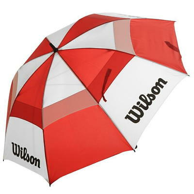 "Wilson Golf 62"" Arc Double Canopy Wind Proof Umbrella Red/white"