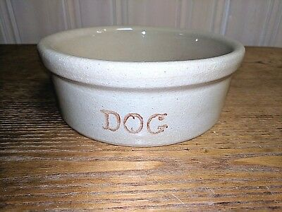 ROBINSON RANSBOTTOM ROSEVILLE Rare mold stamp DOG BOWL 8IN Great Condition