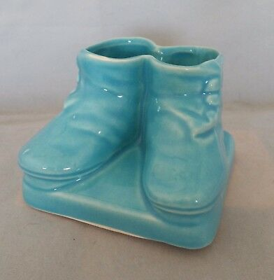 Baby Blue Button up Shoe Planter by RRP Co. Roseville c1950's Vintage