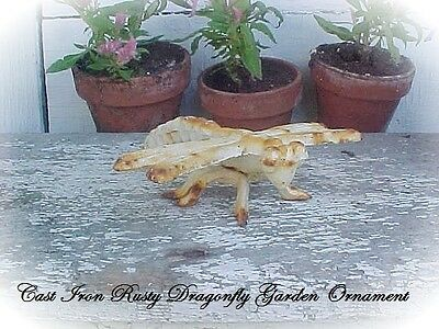 Garden Statue Cast Iron Dragonfly Old Vtg shabby Rusty White Weathered Paint