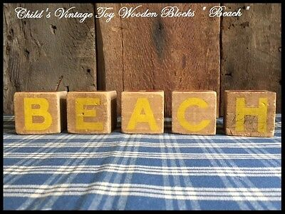"""Child's Antique Toy Wood Blocks spell """"BEACH"""" Country Farmhouse Great Old Paint"""