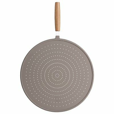 32cm Dia Silicone Round Splatter Starainer Pan Guard Cover Sieve Wooden Handle