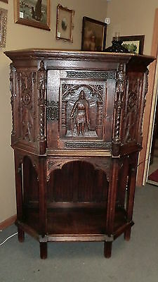 Antique Heavily Carved w/Knights Belgium Oak Cabinet with Beautiful Hardware