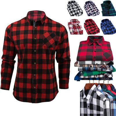 Men's Long Sleeve Flannel Casual Formal Check Print Cotton Work Plaid Shirt Tos