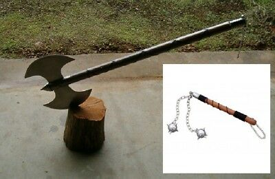"""Large  30"""" Medieval Double Edge Executioners / Battle Axe + 2 Ball Battle Mace"""