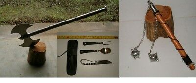 """30"""" Medieval Double Edge Executioners  Axe + Medieval Cutlery Set, Battle Mace"""