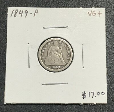 1849-P U.s. Liberty Seated Dime ~ Very Good+ Condition! $2.95 Max Shipping! C576