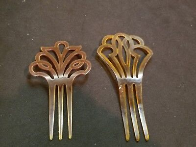 "Two Vintage 3 prong hair comb fork stick, 6"" long (Lot of Two)"