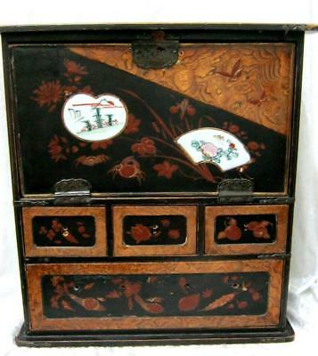 Japanese Lacquer Cabinet Box Early C20th - Large 32cms tall - Damages and Losses