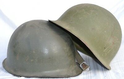 Lot Of 2 American Steel Combat Helmets M1 Vietnam War Or Later Us Combat Helmet